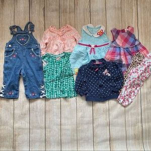 Lot of 8 Baby Girls Clothes Size 12 Months